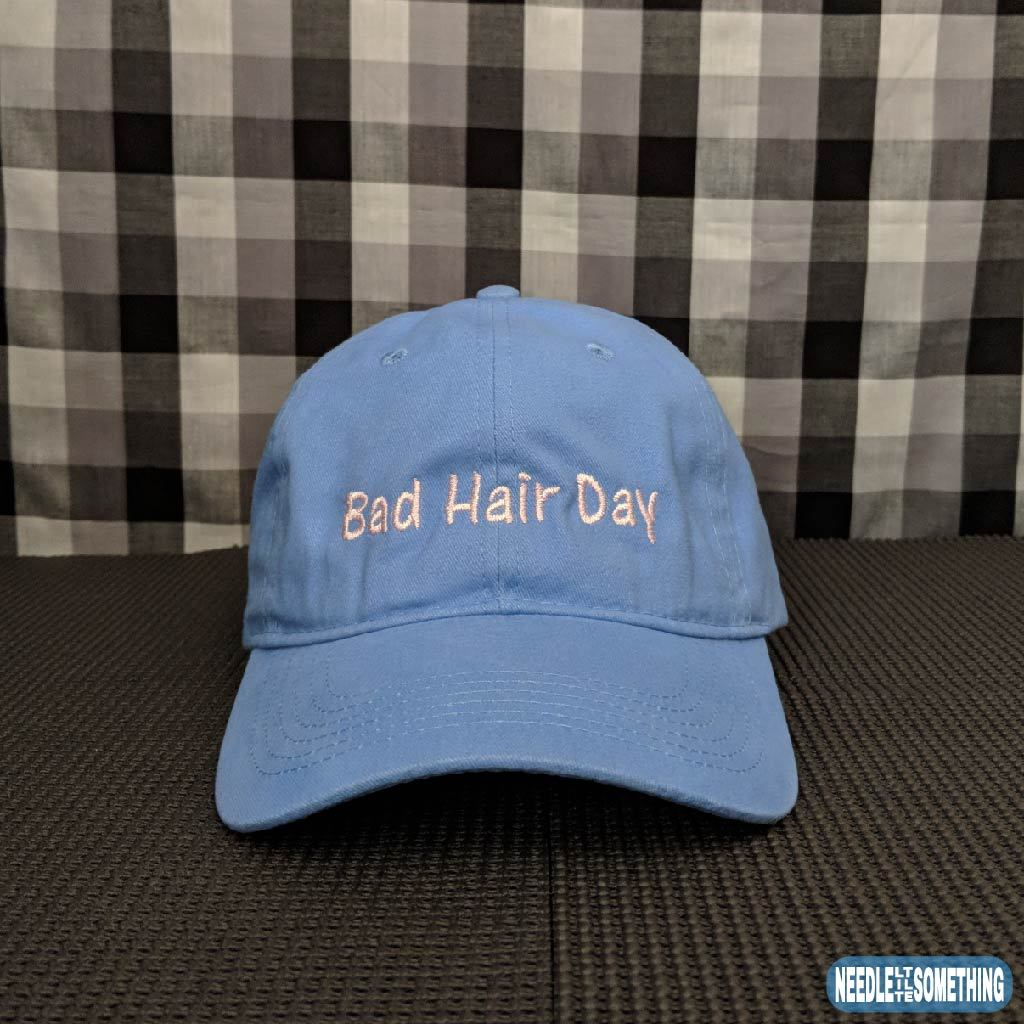 Bad Hair Day Embroidered Soft Blue Dad Hat Cap – Needle Little Something dd316d0667b2