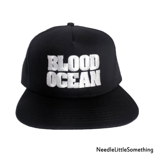 BLOOD OCEAN 5-Panel Flat Bill Embroidered Hat/Cap-Already Embroidered-