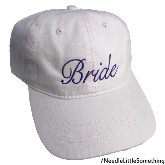 Bride Embroidered Soft Pink Cotton Dad Hat/Cap-Already Embroidered-