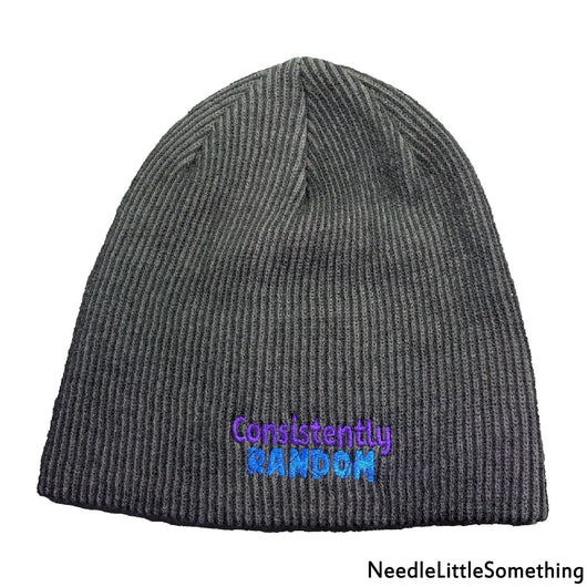 Consistently Random High-Quality Rib-Knit Slouch Embroidered Beanie-Already Embroidered-