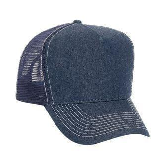 Custom Denim Golf Style 5 Panel Mesh Back Hat-Custom-