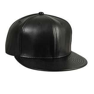 Custom Leather Flat Bill Hat (Black)-Custom-