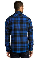Custom Mens Button Down Plaid Flannel Long Sleeve Shirt-Custom-