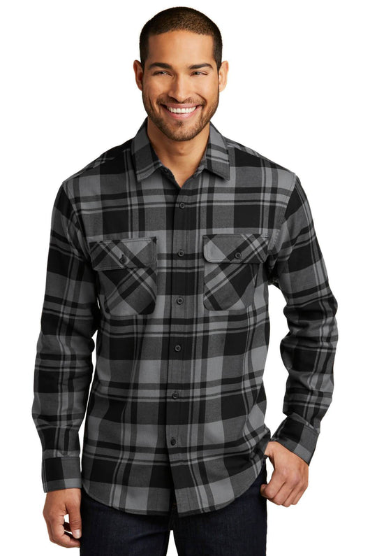 Custom Mens Button Down Plaid Flannel Long Sleeve Shirt-Custom-Grey/Black