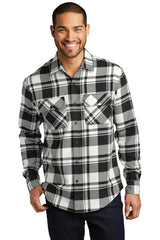 Custom Mens Button Down Plaid Flannel Long Sleeve Shirt-Custom-Snow White/Black
