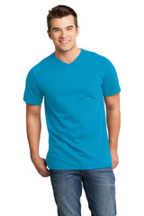 Custom Mens Very Soft T-Shirt With V-Neck-Custom-Light Turquoise