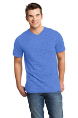 Custom Mens Very Soft T-Shirt With V-Neck-Custom-Heather Royal Blue