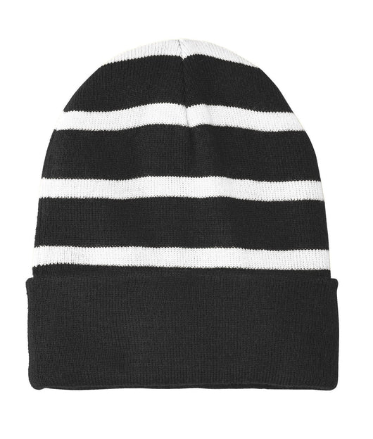Custom Striped Beanie with Solid Band-Custom-