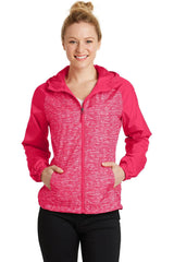Custom Womens Heather Hooded Wind Jacket-Custom-Pink Raspberry Heather