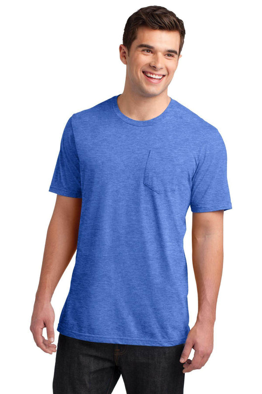 District's Mens Very Soft T-Shirt with Pocket-Shirts-Heather Royal Blue