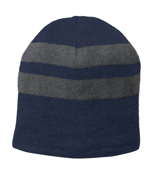 Fleece-Lined Striped Beanie-Beanie-