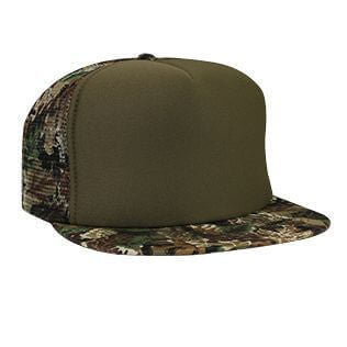 Foam Front Mesh Back Camo Flat Bill Hat-Hats-