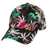 Hawaiian Floral Curved Bill Unstructured Hat-Hats-