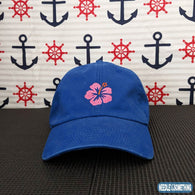 Hawaiian Flower Embroidered Royal Blue Dad Hat/Cap-Already Embroidered-