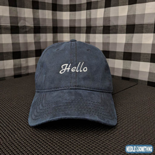 Hello Embroidered Coated 6-Panel Hat-Already Embroidered-