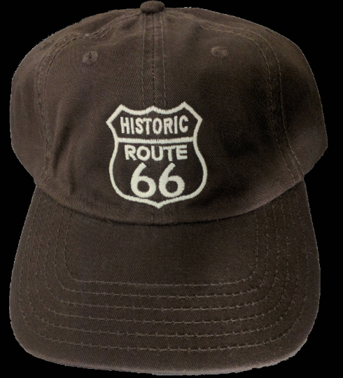 Historic Route 66 Washed Dark Brown Dad Hat/Cap with Sandwich Bill-Already Embroidered-