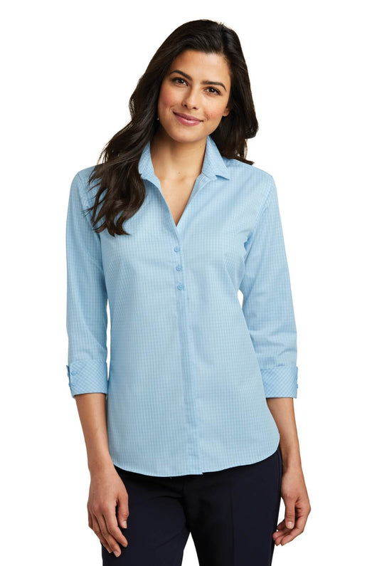 Ladies 3/4-Sleeve pinstripe Easy Care Shirt-Shirts-X-Small