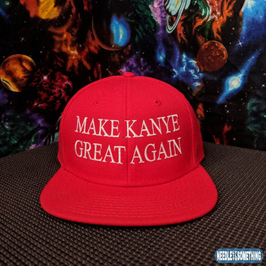 Make Kanye Great Again Embroidered Red 6-Panel High Profile Hat-Already Embroidered-