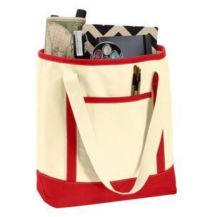 Medium Cotton Canvas Boat Tote With Pockets-Bag-
