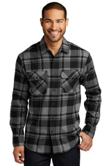 Mens Button Down Plaid Flannel Long Sleeve Shirt-Shirts-X-Small