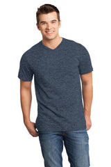 Mens Very Soft T-Shirt With V-Neck-Shirts-Heather Navy Blue