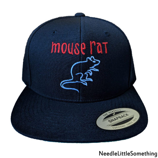 Mouse Rat Embroidered Black Snap Back Hat-Already Embroidered-