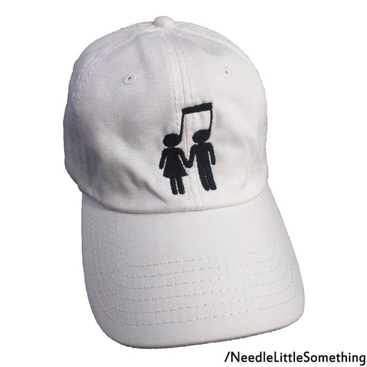 Music Note Couple Custom Embroidered Adjustable 6-Panel Hat-Already Embroidered-