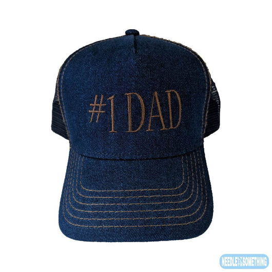 Number 1 #1 DAD Embroidered Denim Mesh-Back Hat/Cap With Gold Stitching-Already Embroidered-