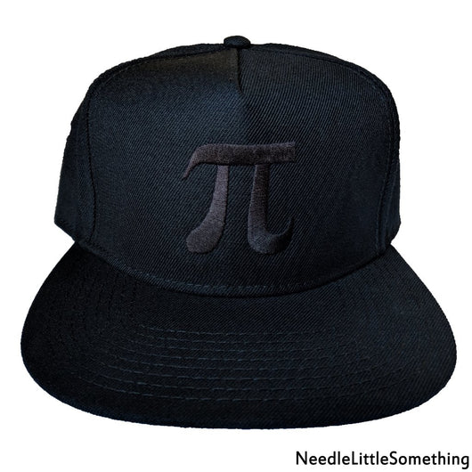 Pi Symbol Embroidered Black 5-Panel Hat-Already Embroidered-