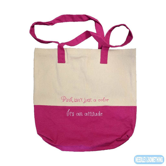 Pink Attitude Quality Embroidered Natural/Pink Bag-Already Embroidered-