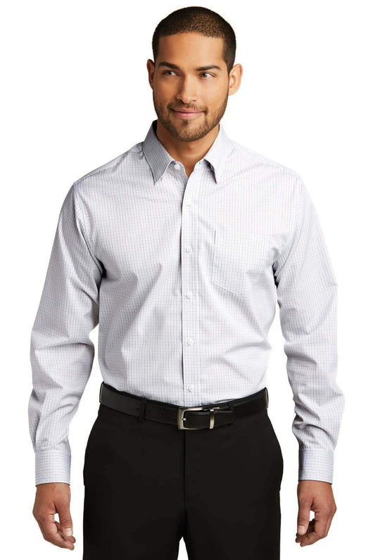 Pinstripe Easy Care Long Sleeve Button Down Dress Shirt-Shirts-