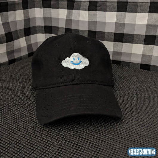 Smiling Cloud Embroidered Black 6-Panel Hat-Already Embroidered-