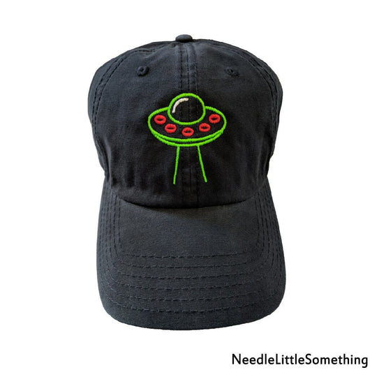 Space Ship Embroidered Black Dad Hat-Already Embroidered-