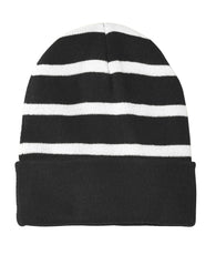 Striped Beanie with Solid Band-Beanie-