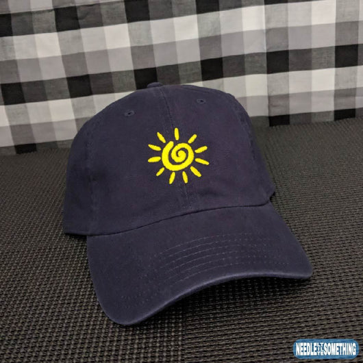 Sun Spiral Embroidered Navy Blue Dad Hat/Cap-Already Embroidered-