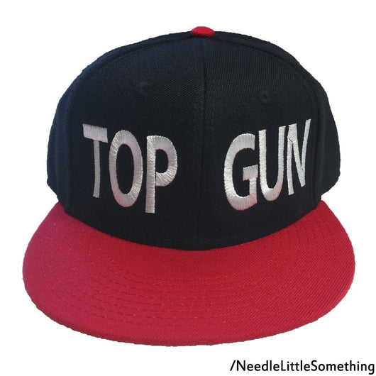 TOP GUN Embroidered Black and Red Hat-Already Embroidered-