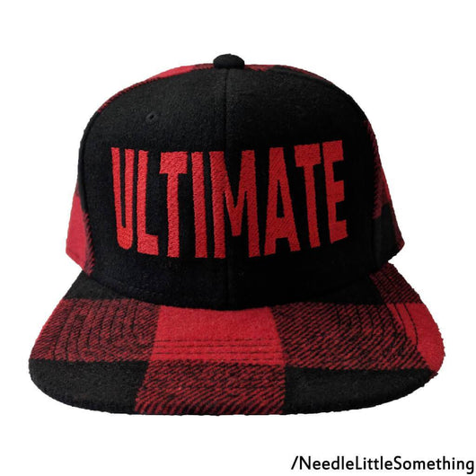 ULTIMATE Embroidered Black & Red Flannel Hat-Already Embroidered-