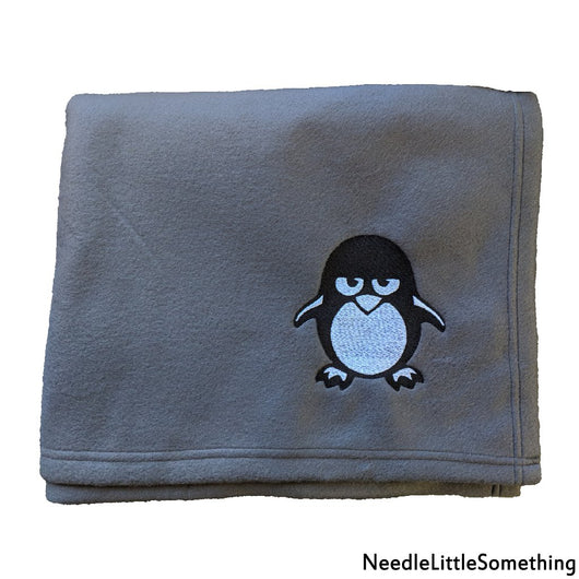 Unhappy Penguin Embroidered Magnet Gray Fleece Blanket-Already Embroidered-