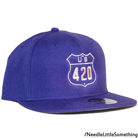 U.S. 420 Purple 6-Panel Flat Bill Hat-Already Embroidered-