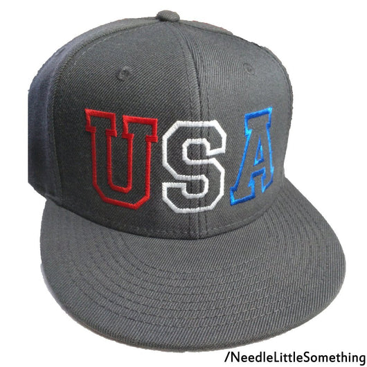 USA Red White and Blue Embroidered Charcoal Grey 6 panel Hat-Already Embroidered-
