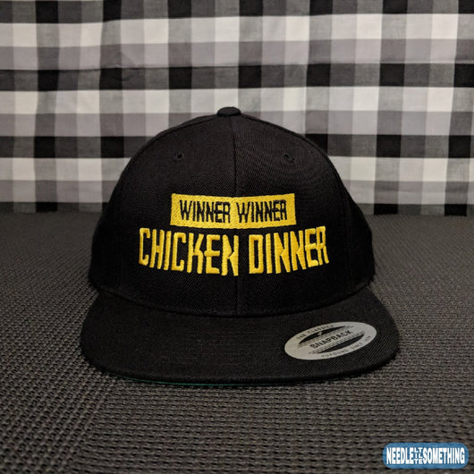 Winner Winner Chicken Dinner Embroidered Black Snapback Hat/Cap-Already Embroidered-