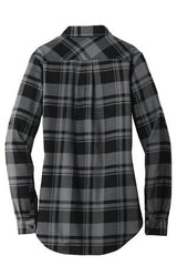 Womens Button Down Plaid Flannel Long Sleeve Shirt-Shirts-