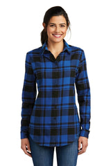 Womens Button Down Plaid Flannel Long Sleeve Shirt-Shirts-X-Small