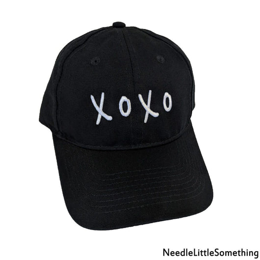 XOXO Embroidered Black Twill Hat-Already Embroidered-