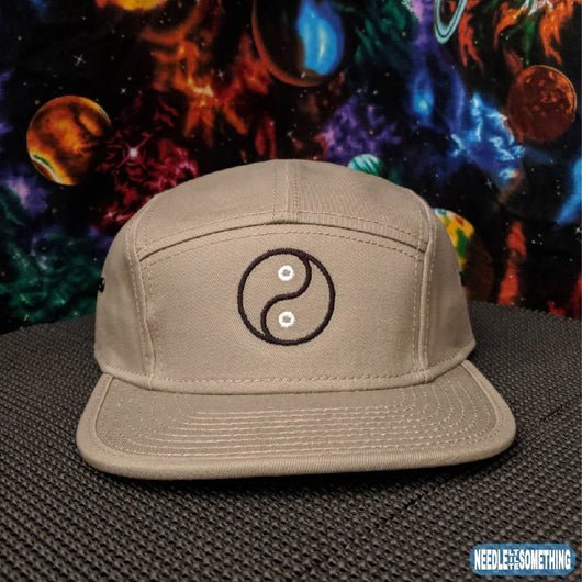 Yin Yang Outline Embroidered Khaki Camper Hat-Already Embroidered-