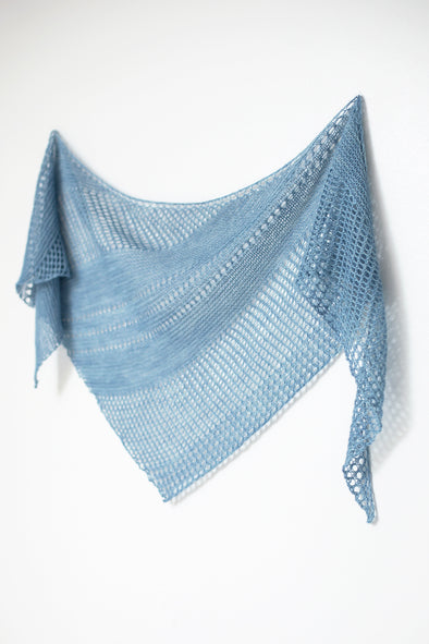 Janina Kallio's Antarktis knitted shawl pattern from Ravelry in blue yarn