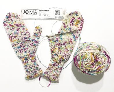 Tin Can Knits The World's Simplest Mittens pattern using Joma Yarns Mashmellow Rino Valley Girl yarn