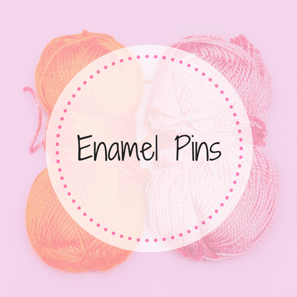 Enamel Pins and More Collection for knitters and crocheters image of yarn with text overlay by Pretty Warm Designs