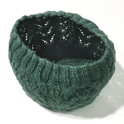 Green lace knitted hat