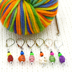 Colourful Skulls Crochet Stitch Holders by Pretty Warm Designs